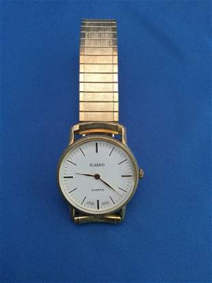 Silver plated tennis box and 2 mens watches