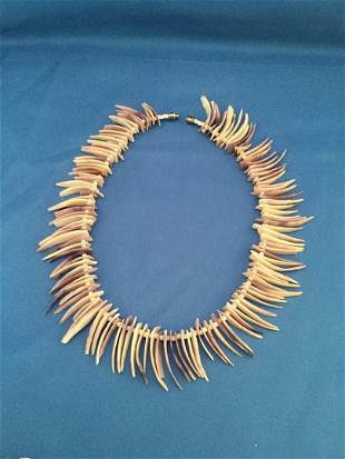 Necklaces, puka shells, and costume pearls