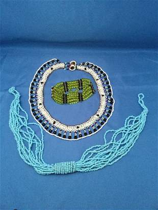 Breaded necklaces and bracelet
