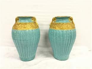 2 large blue vases
