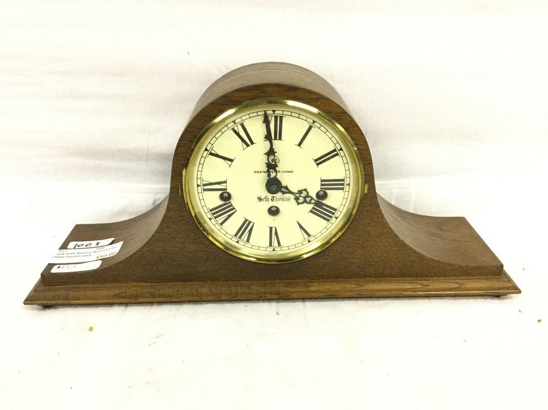 Oak Seth Thomas Westminster chime mantel clock
