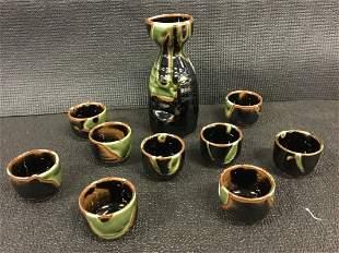 10 piece Japanese ceramic sake set