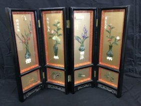 Four panel Chinese table top lacquer screen