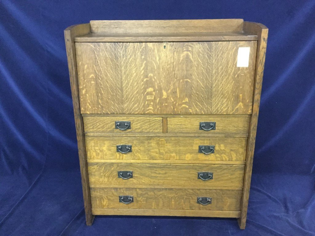 Gustav Stickley arts and craft oak drop front desk.