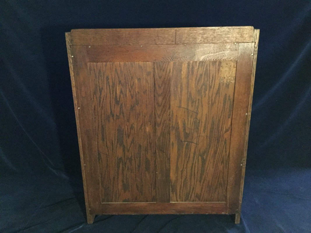 Gustav Stickley arts and craft oak drop front desk. - 4