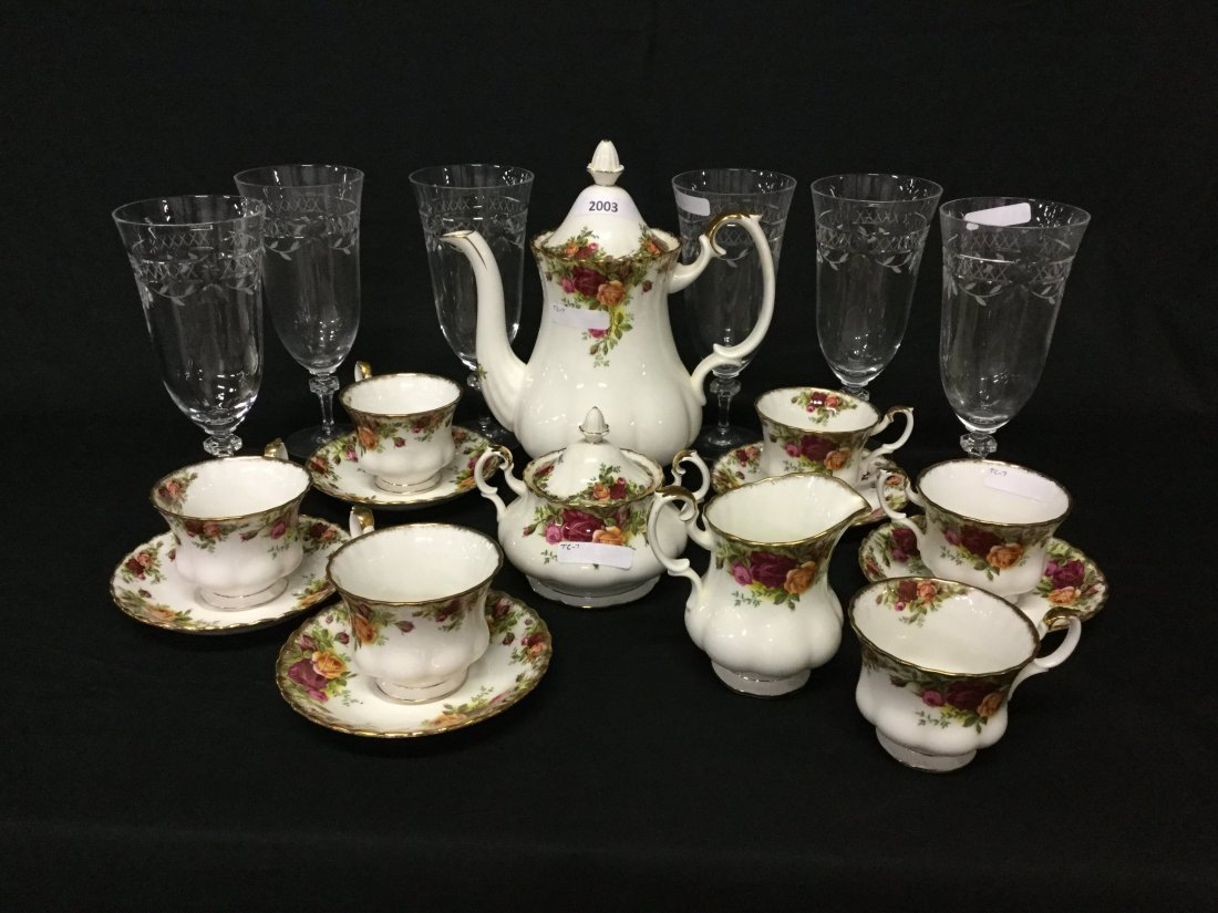 Floral pattern coffee set with six etched glasses