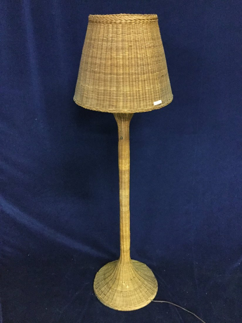 Arts and crafts wicker floor lamp