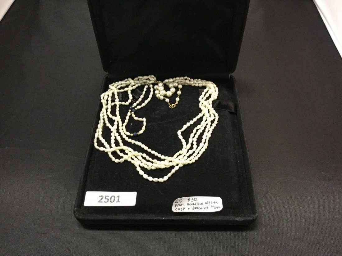Pearl necklace 14k clasps and pearl bracelet 14k gold