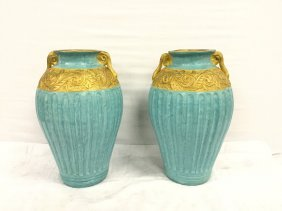 2 large blue vases