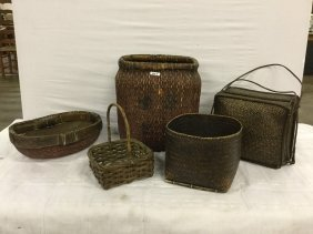 Swamp grass baskets and containers
