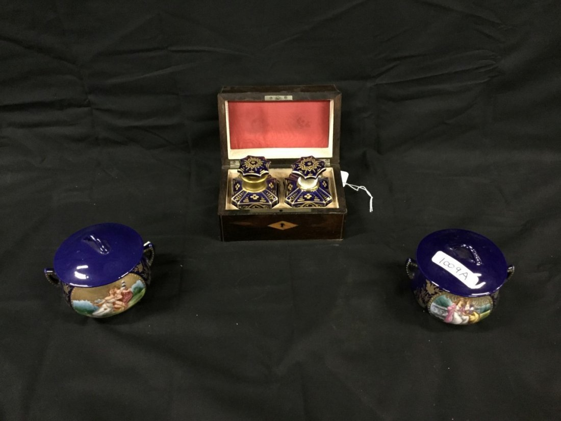 Inlaid Rosewood perfume box with two bottles and French