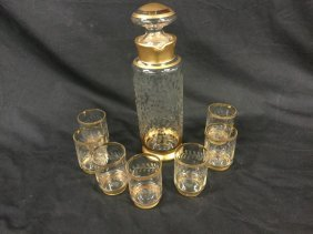 Gold rimmed Decanter set