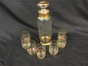 Gold rimmed Decanter set
