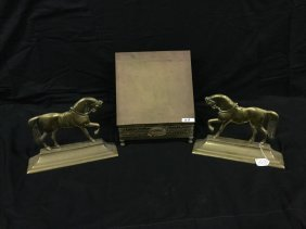 Brass english horse bookstand and French brass book