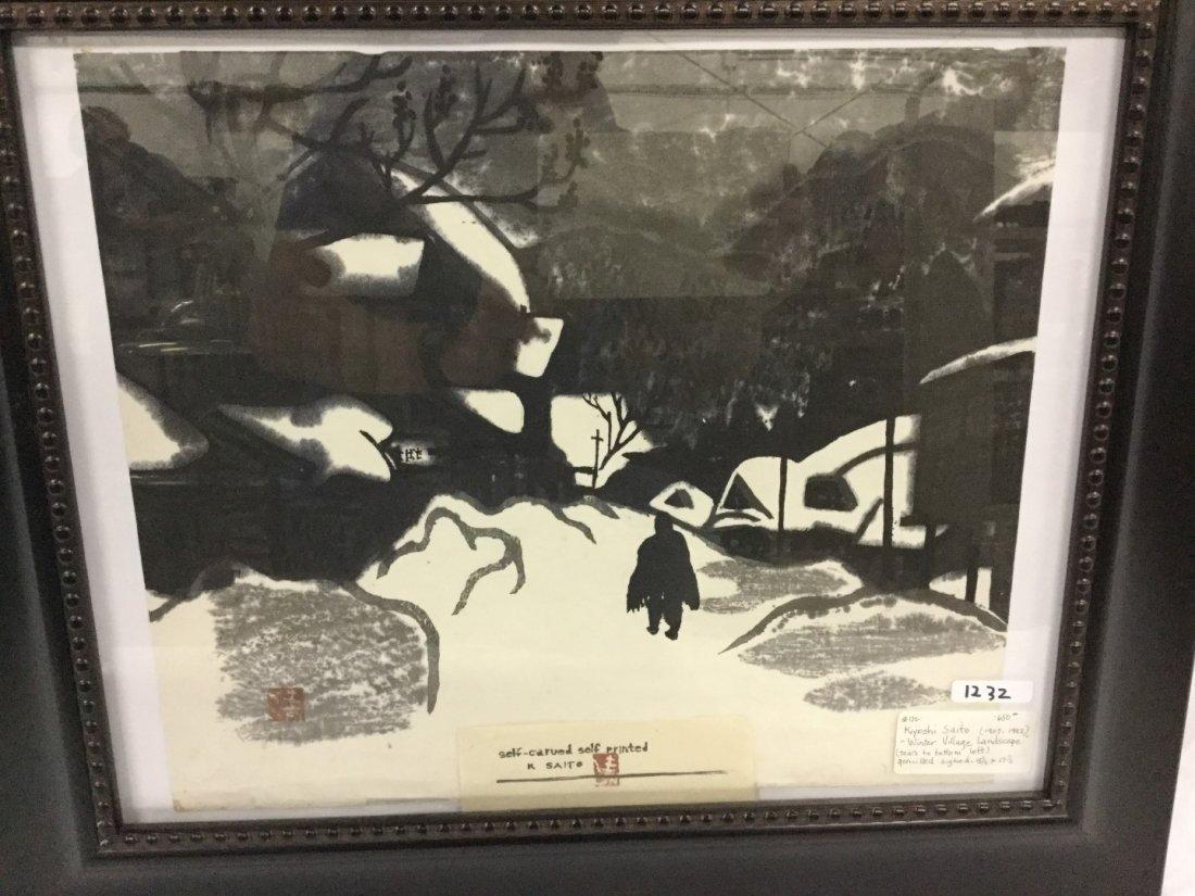 "Kiyoshi Saito (1907 - 1992) ""Winter village landscape"""