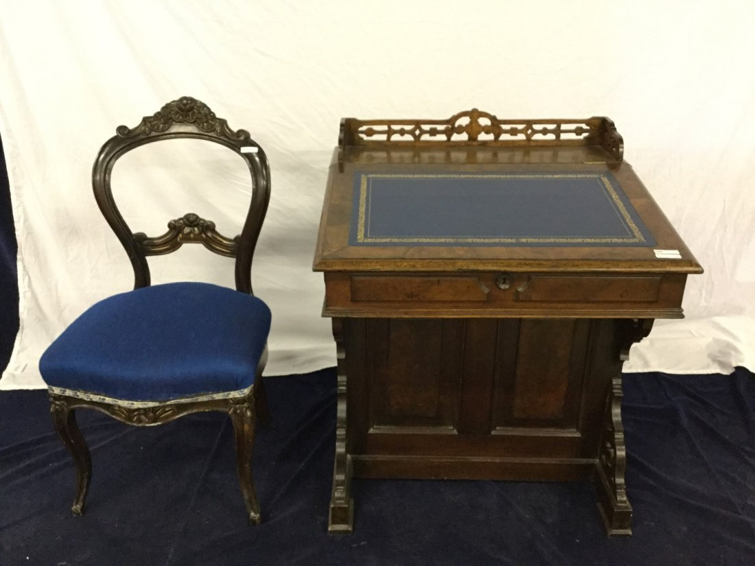 Davenport Desk With Blue Upholstered Chair