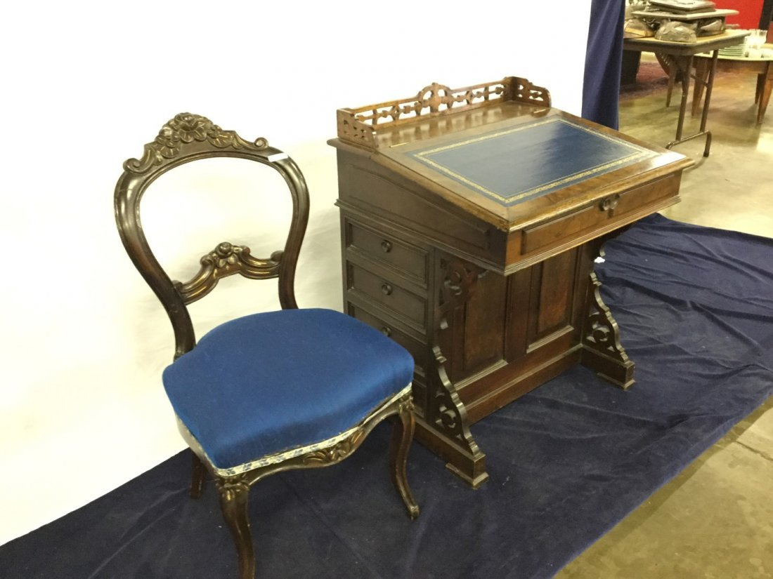 Davenport Desk With Blue Upholstered Chair - 2