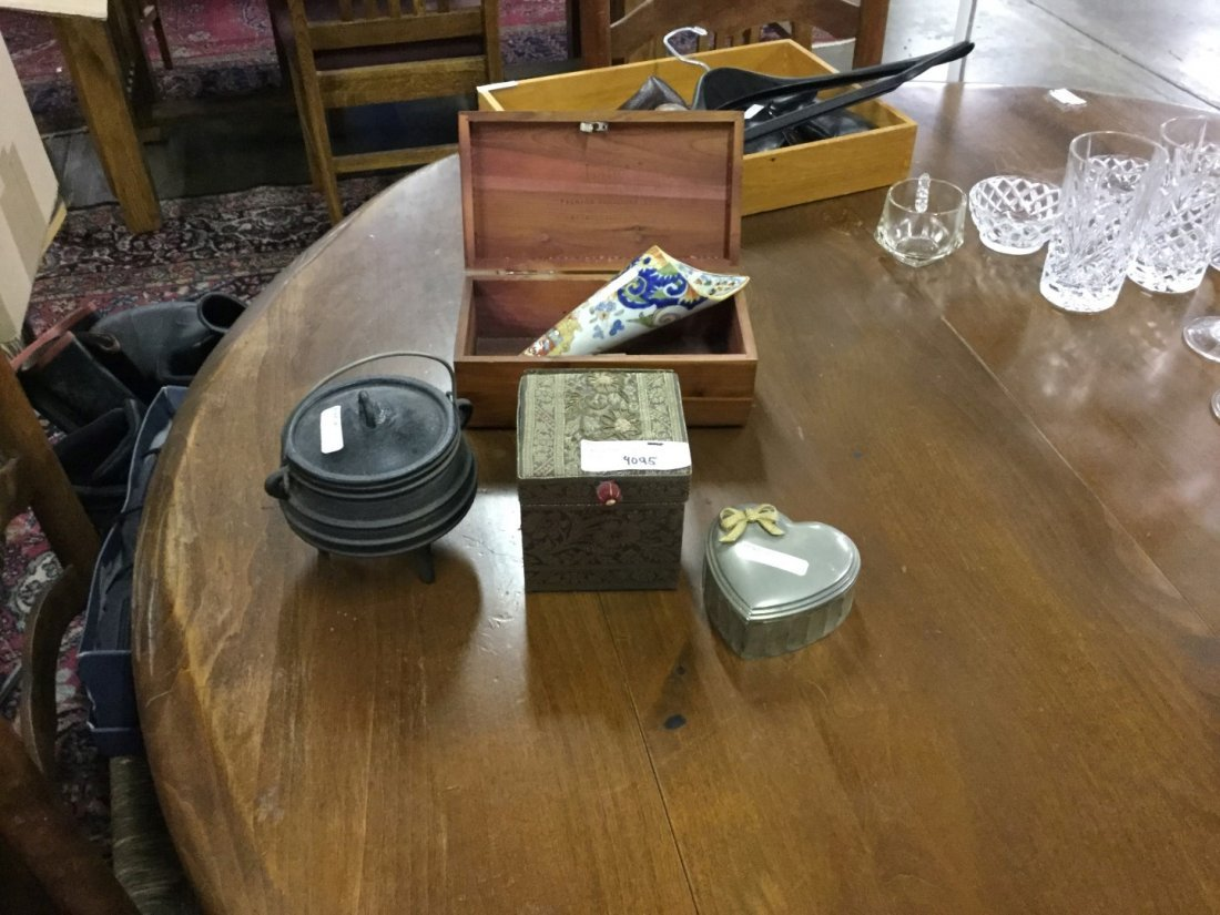 jewelry boxes and cast iron cauldron