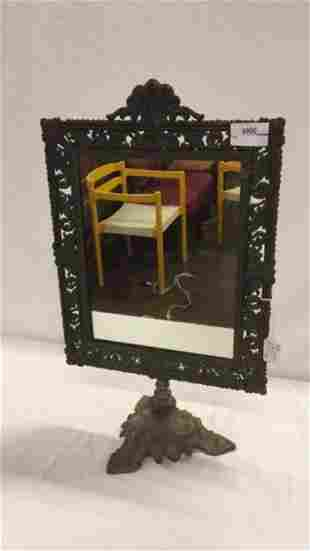 19th century pedestal tabletop mirror