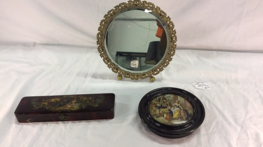 19th c. Decoupage paper mache pen box pot lid