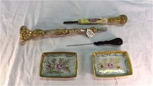 Pair of French handpianted trays and Gilt Handles