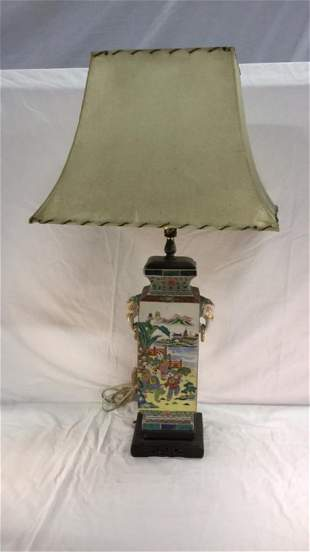 Chinese hand painted vase lamp, elephant handles