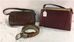 Two Snakeskin Handbags and 925 belt Buckle
