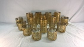 Gold liquor glassware set