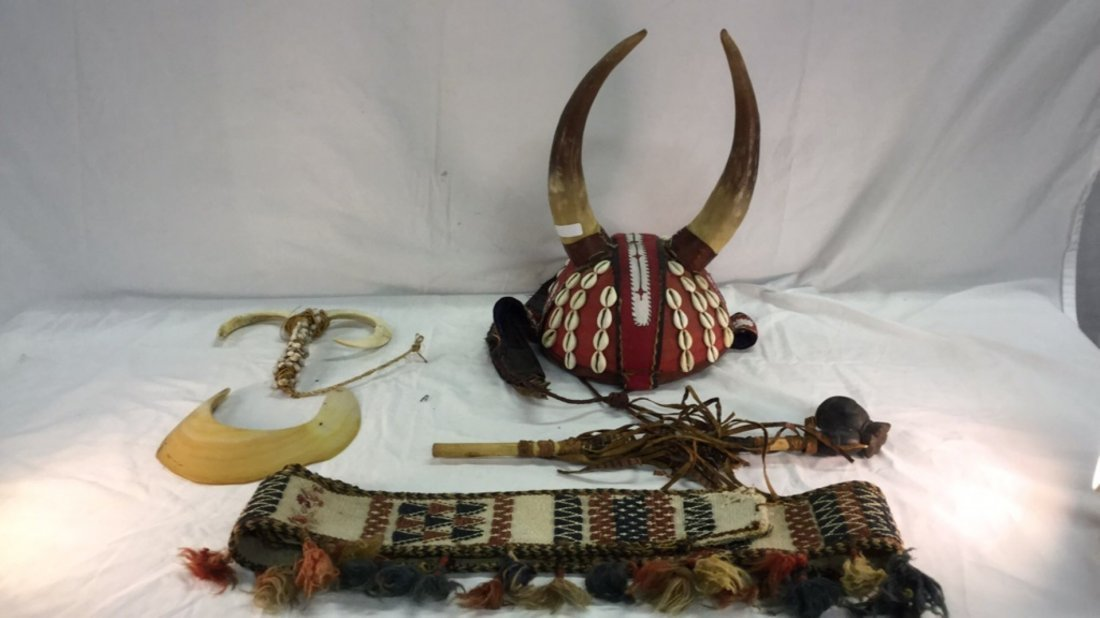 African head dress with pipe and misc.
