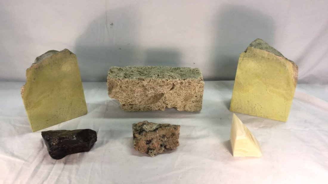 Lot of fossils and stone bookends