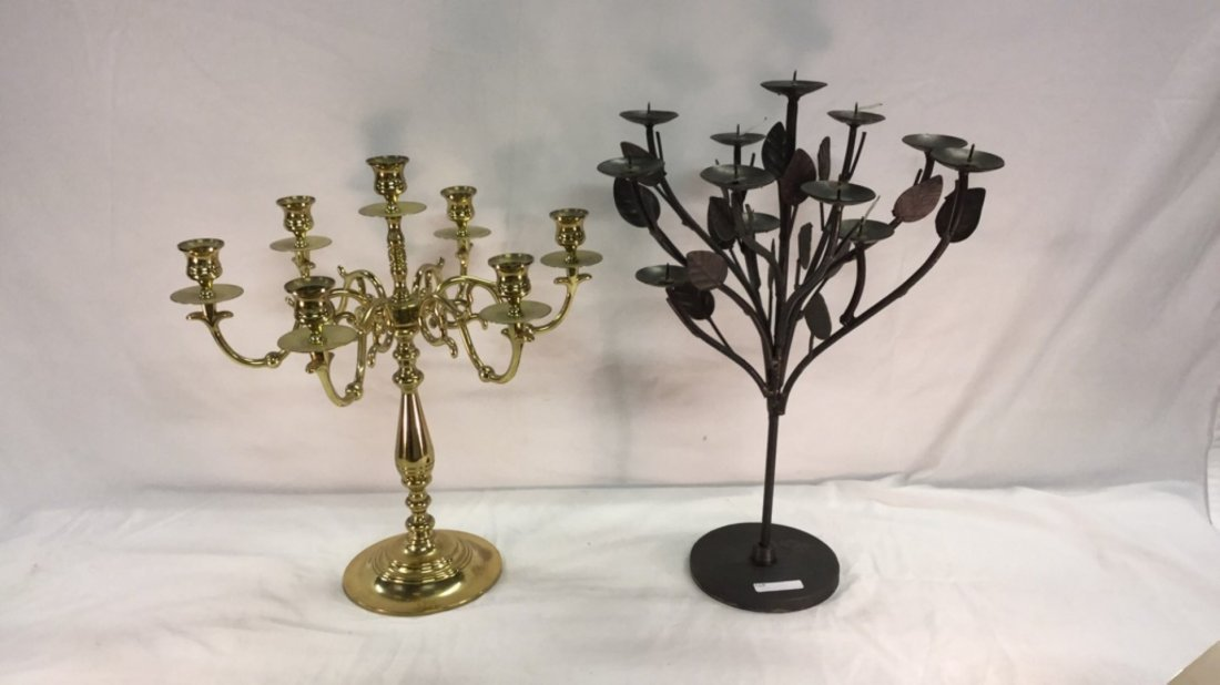 Two metal candle centerpieces