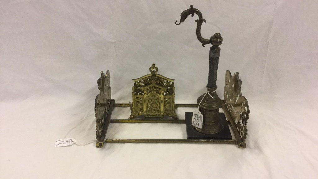 Brass book holder, letter holder and candle stand