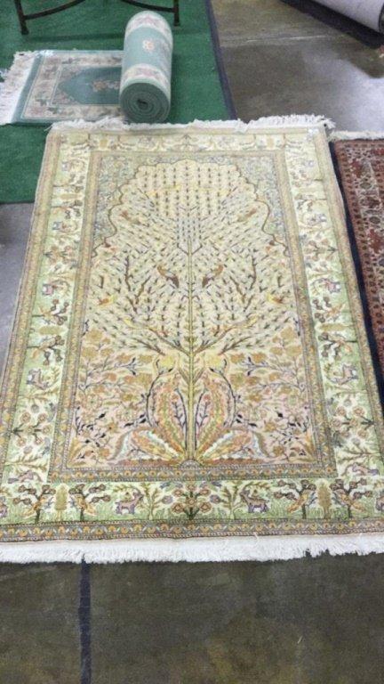 """Hand loomed yellow rug 89""""x58"""""""