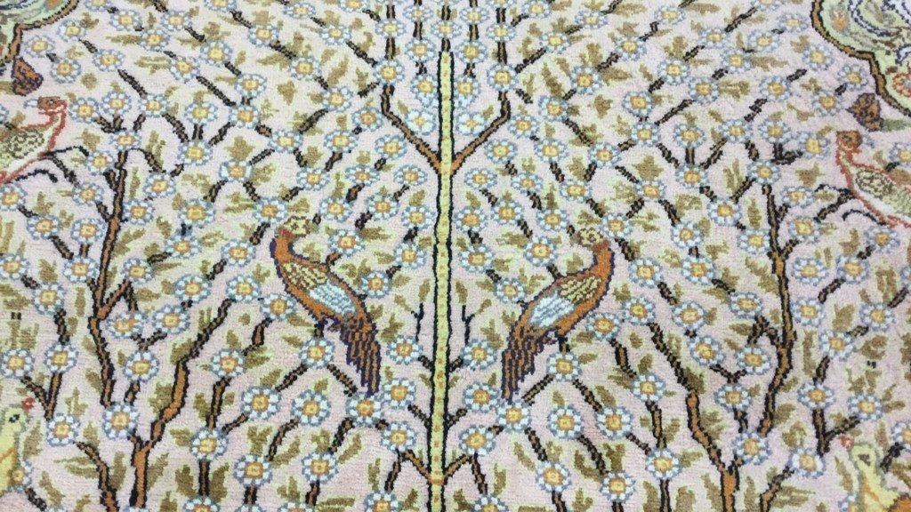 """Hand loomed yellow rug 89""""x58"""" - 4"""