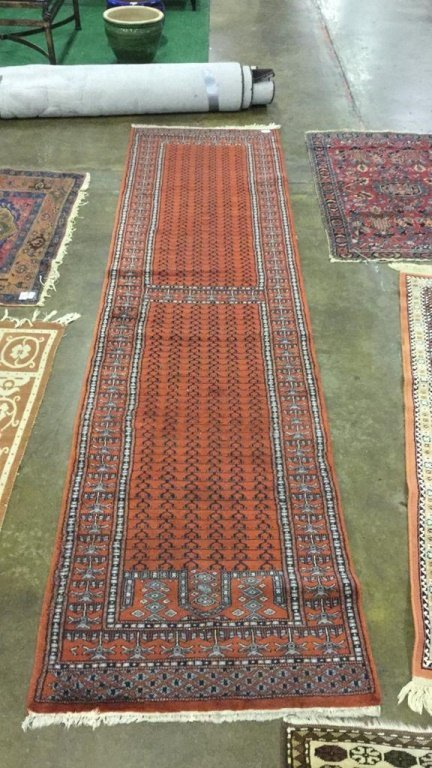 "Long red hand Loomed Runner 123""x 31"""