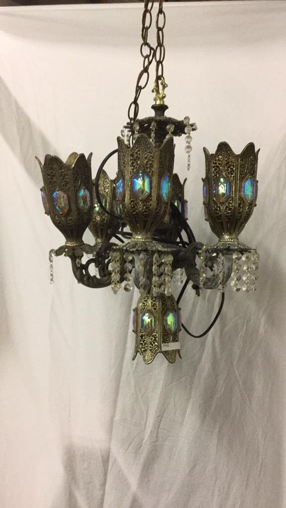 Brass and crystal electrified chandelier