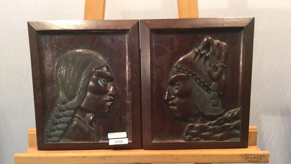 Incan wood panel art