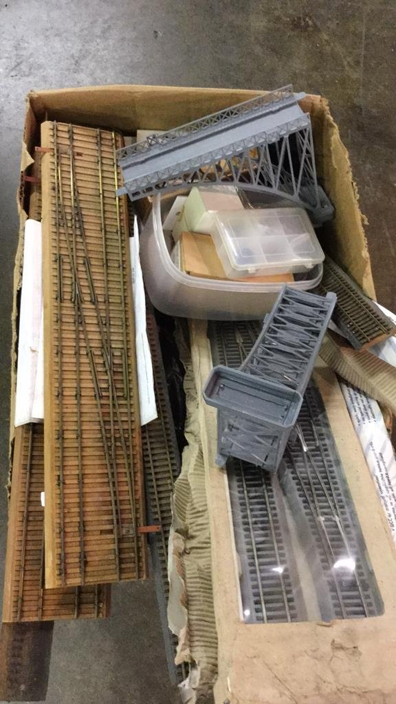 Box of HO scale train tracks and parts - 2