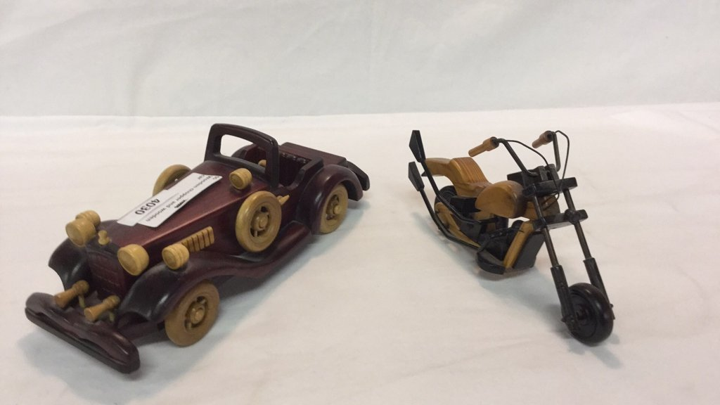 Wooden car and motorcycle