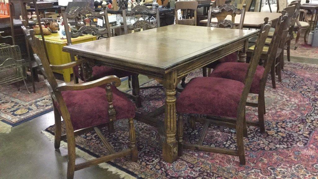 Solid oak dining set - 2