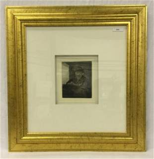 Rembrandt etching: Self portrait drawing at a wind