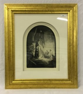 Rembrandt etching: The raising of Lazarus: the lar