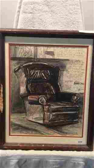 Pastel of Windsor recliner. By Cervenak