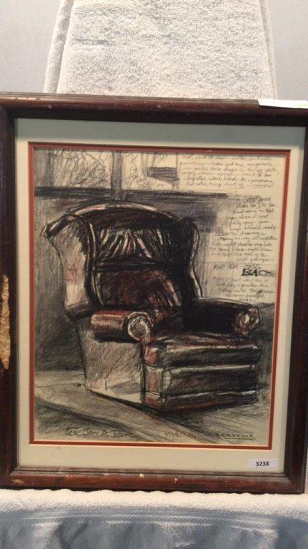 Pastel of Windsor recliner. By Cervenak