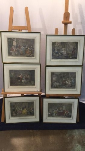 6 early 19th century hand colored engravings