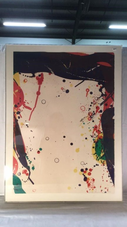 Abstract splatter painting signed 93/144