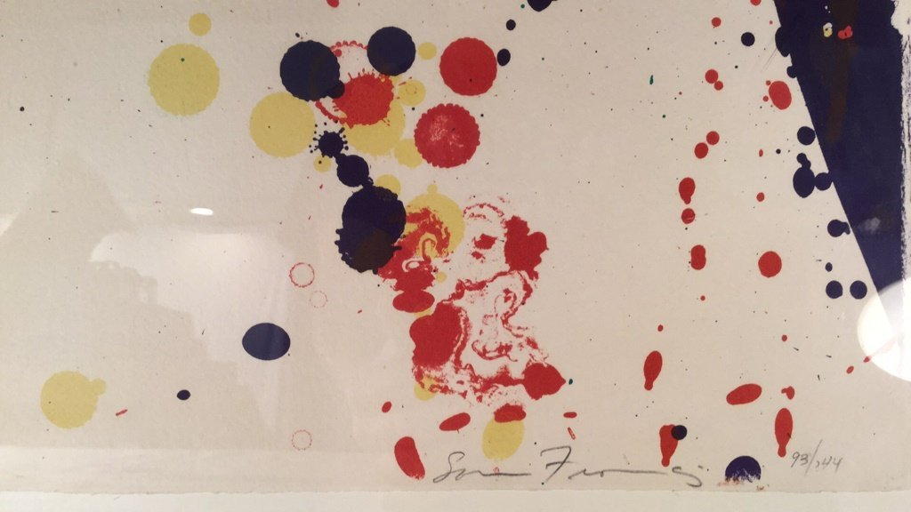 Abstract splatter painting signed 93/144 - 2