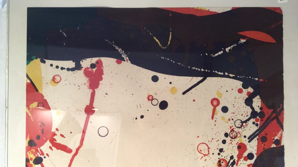 Abstract splatter painting signed 93/144 - 3
