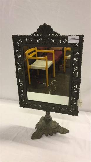 19th century pedestal tabletop mirror