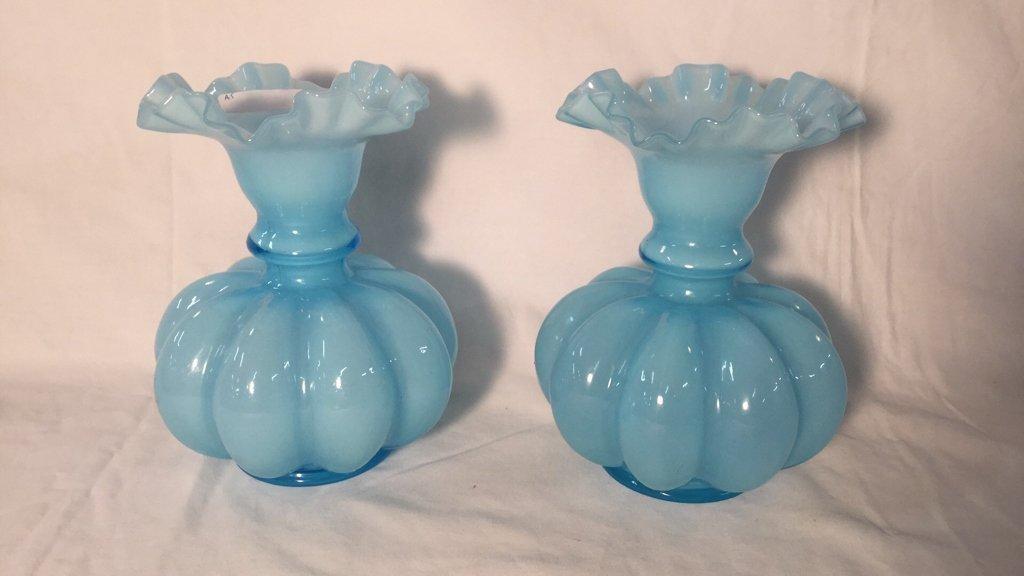 Pair of vintage blue glass vases